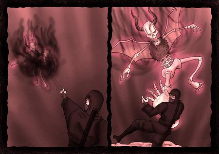 Ninja fighting with danger demon Editorial