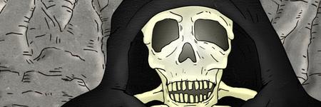 Skull with hood illustration