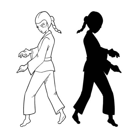Karate woman illustration