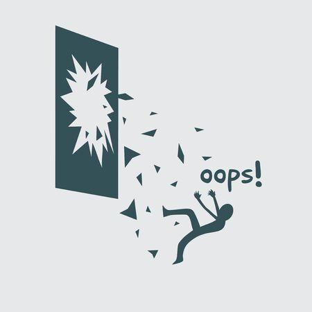 Accident falling through broken window