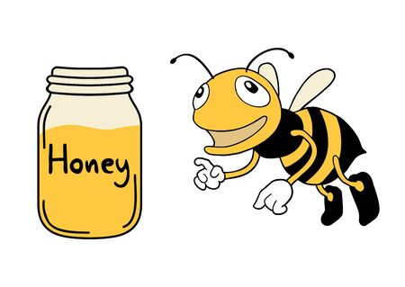 happy bee and honey bottle