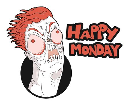 funny crazy face and monday message Imagens
