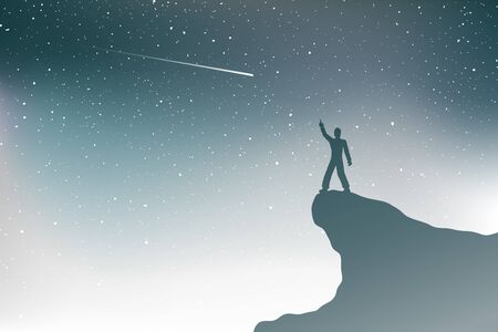 man in mountain watching shooting stars