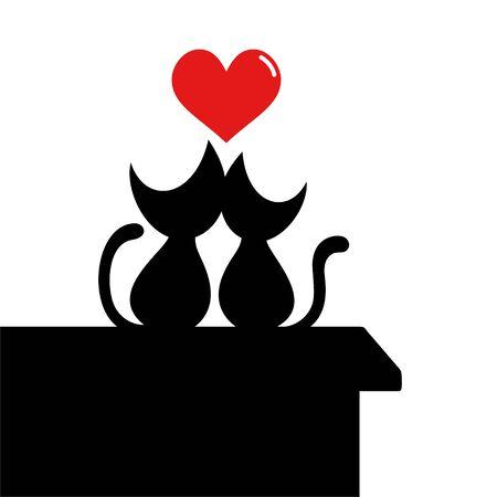 cats in love illustration