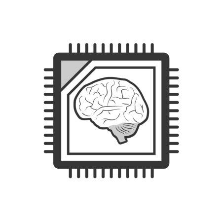 Design of futuristic brain tech symbol