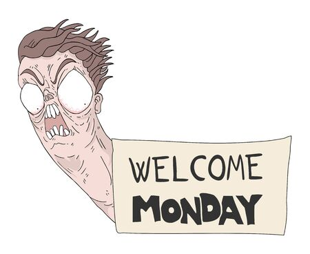 funny crazy face and monday message Иллюстрация