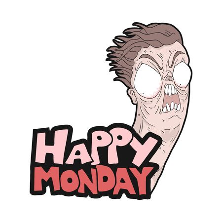 funny crazy face and monday message Çizim