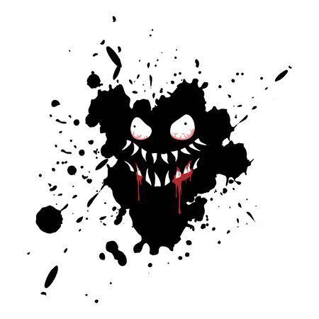 Imaginative monster face on ink stain