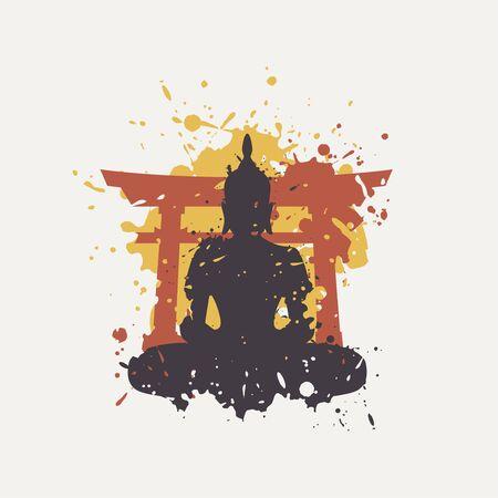 Creative design of budha illustration  イラスト・ベクター素材