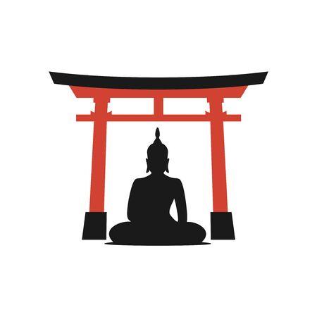 budha and torii gate illustration