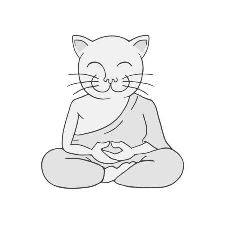 funny cat meditating Illustration
