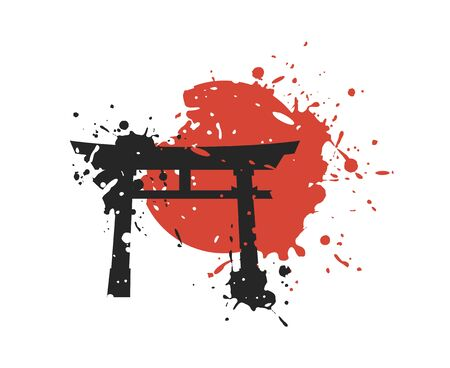 Creative torii gate draw Иллюстрация