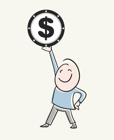businessman earning money Ilustração