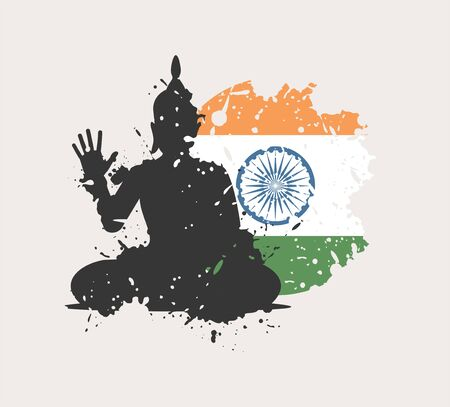 Budha and Indian flag draw