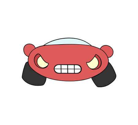 Angry car illustration on white