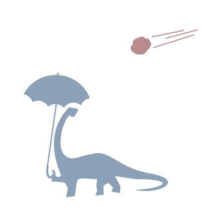 dinosaur with umbrella and meteor falling Illustration