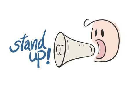 megaphone and stand up message Иллюстрация