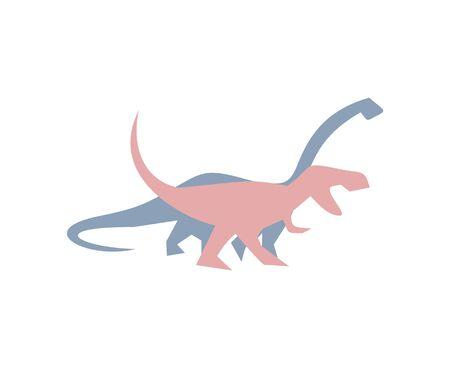 diplodocus and t-rex illustration Ilustração