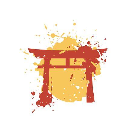 Creative torii gate draw Illusztráció