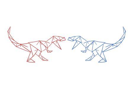dinosaurs fighting draw Ilustração