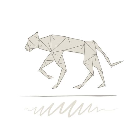 panther origami style draw