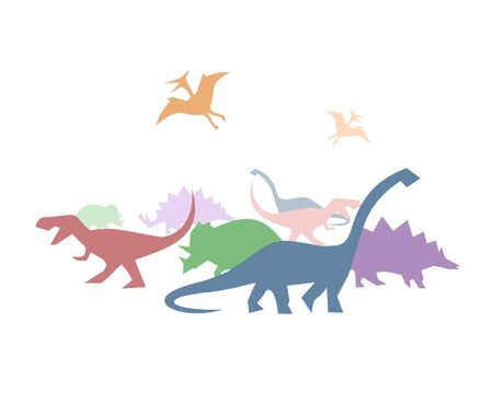 Creative color dinosaurs illustration