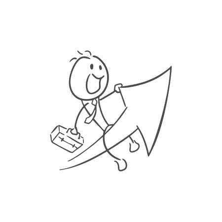 businessman with arrow going up