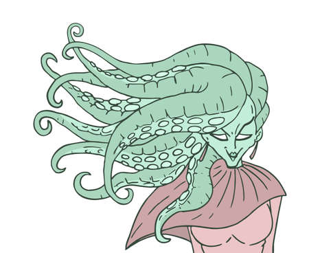 mutant woman with octopus hair