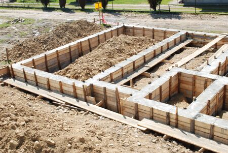 foundations: concrete foundation of a house