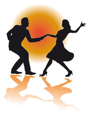 Illustratie van een silhouet van een paar swing dansen