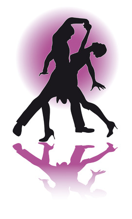 latino: Illustration of a silhouette of a couple dancing Latino.