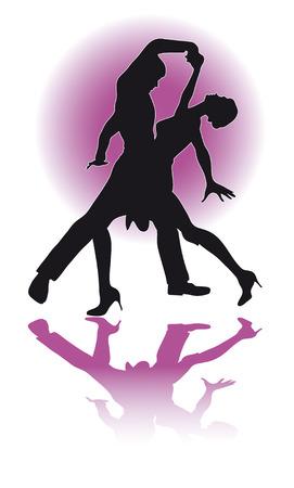 Ilustración de una silueta de una pareja de baile latino. Foto de archivo - 55111964