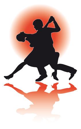 Ilustración de una silueta de una pareja bailando el tango. Foto de archivo - 55111963