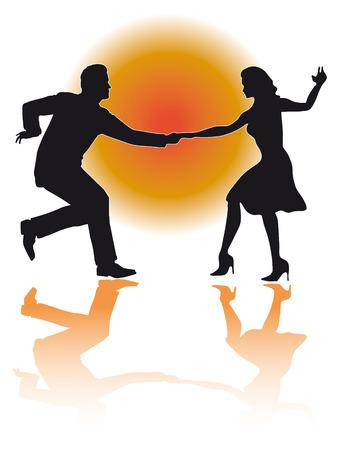 スイング ダンス カップルのシルエットのイラスト
