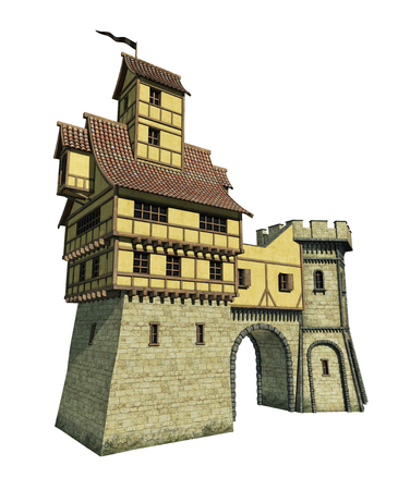 gatehouse: 3D rendering of a fantasy gatehouse.