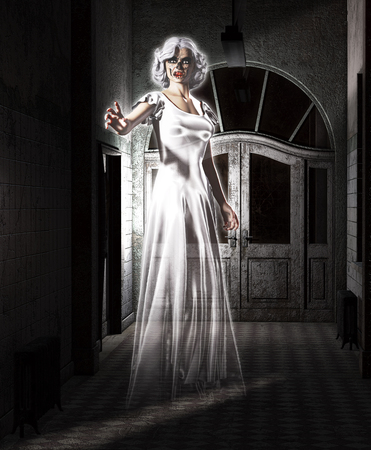 Female ghost floating in an abandoned insane asylum. Stock Photo