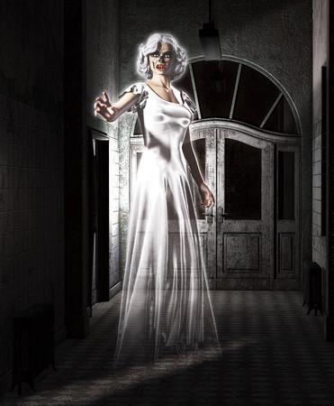 asylum: Female ghost floating in an abandoned insane asylum. Stock Photo