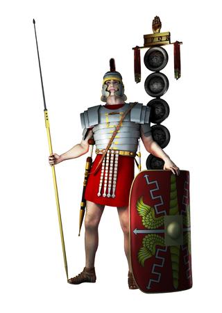 cascos romanos: Rinden de un soldado legionario romano aislado en blanco. Foto de archivo