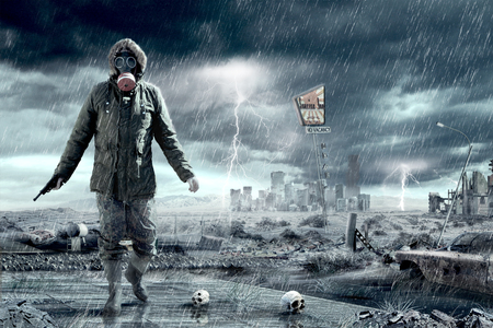 Illustration of an Apocalypse postnuclear Doomsday scenario.