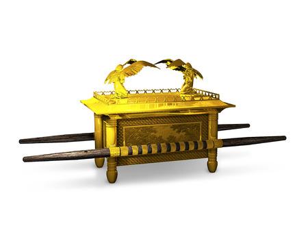 ユダヤ人の聖書から契約の古代箱の 3 D レンダリングします。