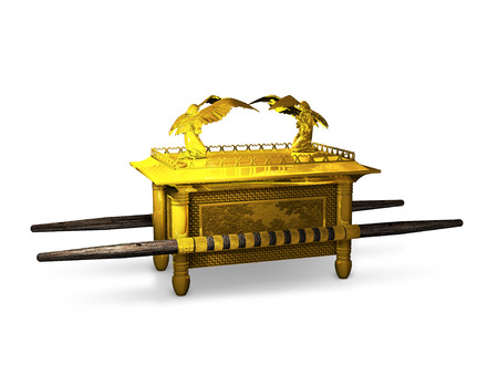 scriptures: 3D rendering of the ancient Ark of the Covenant from the Jewish scriptures.