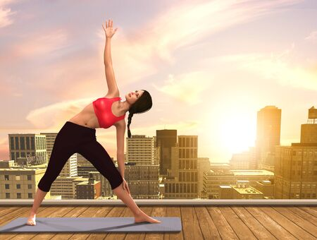 yoga outside: 3D illustration of a woman doing Yoga poses on city rooftop.