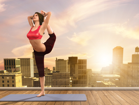 rooftop: 3D illustration of a woman doing Yoga poses on city rooftop.