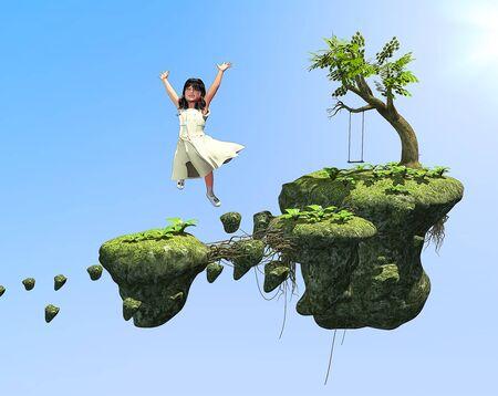 idyll: Digital Illustration of a little girls childhood fantasy playground on floating rocks.