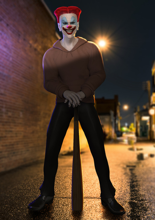 3D illustration of a creepy looking Killer Clown standing with a baseball bat in a back alley.