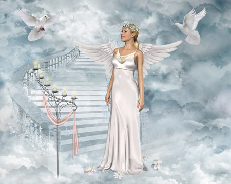 3D-afbeelding van een mooie engel vrouw speelt met witte duiven. Stockfoto