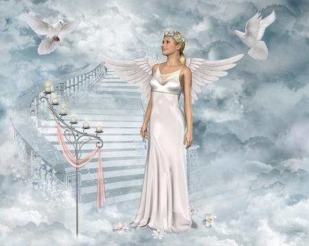 illustrazione 3D di una bella donna angelo che gioca con colombe bianche.