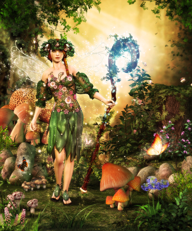 a 3d painting of a fairy guarding a magical forest