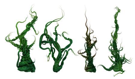 Rendu 3D d'un ensemble de plantes de vignes lourdes torsadées.