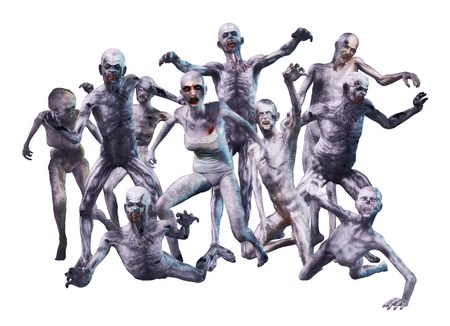 3D render of a crowd of horrific looking zombies.
